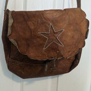 Handbags - Vintage scalloped edge embroidered leather bag